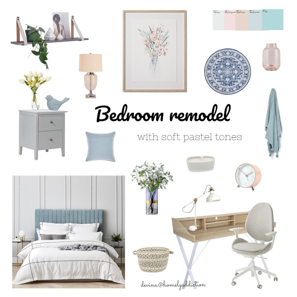 Bedroom remodel pastel tones Interior Design Mood Board by HomelyAddiction on Style Sourcebook