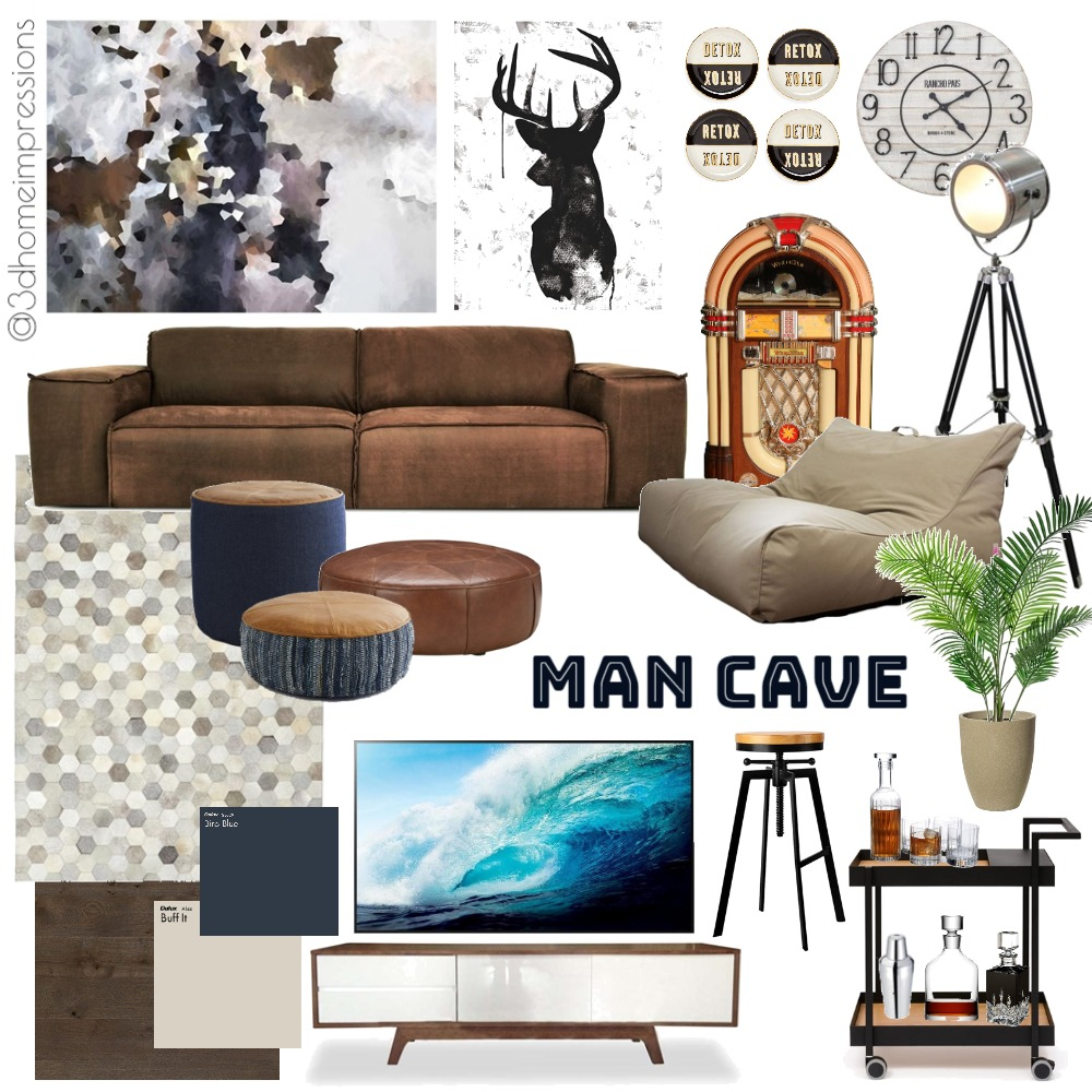 man cave Interior Design Mood Board by 3D Home Impressions on Style Sourcebook