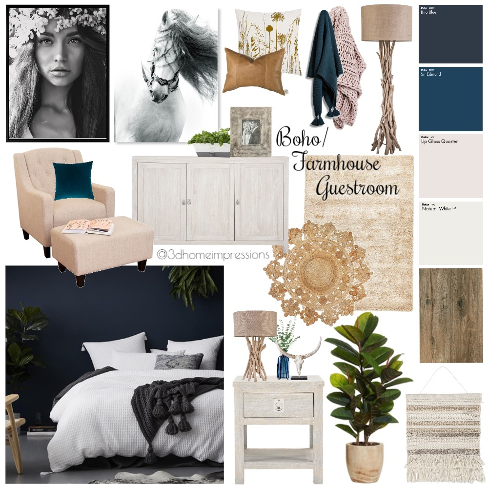 Boho/Farmhouse Guestroom Mood Board by 3D Home Impressions on Style Sourcebook