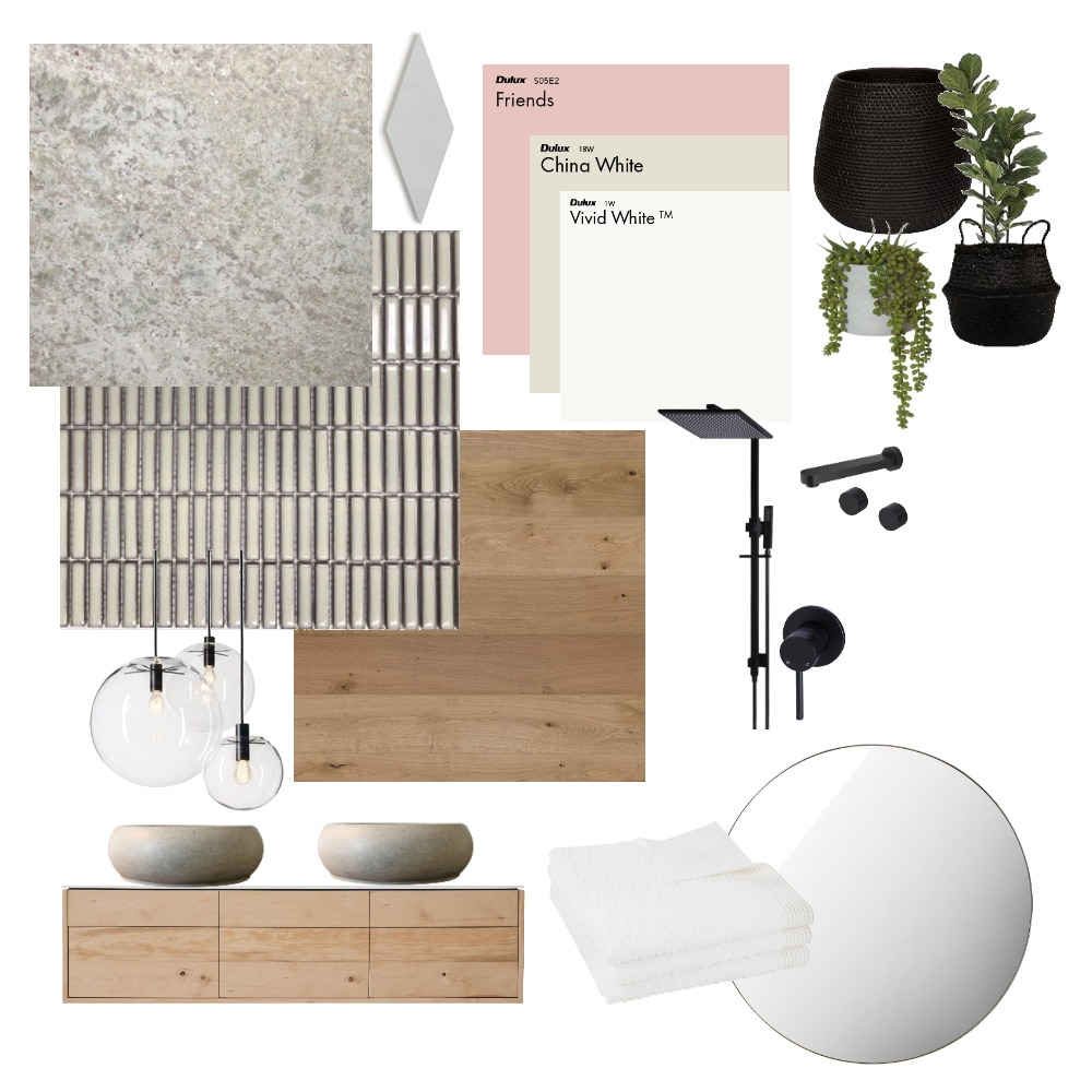 Bathroom - Black, White, Timber, Pink Interior Design Mood Board by JadeCrowther on Style Sourcebook