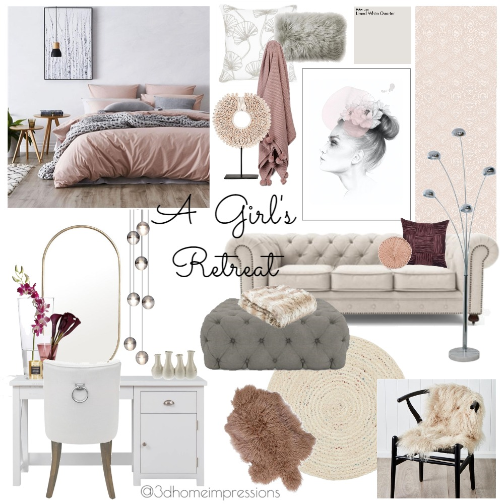 A Girl's Retreat Mood Board by 3D Home Impressions on Style Sourcebook