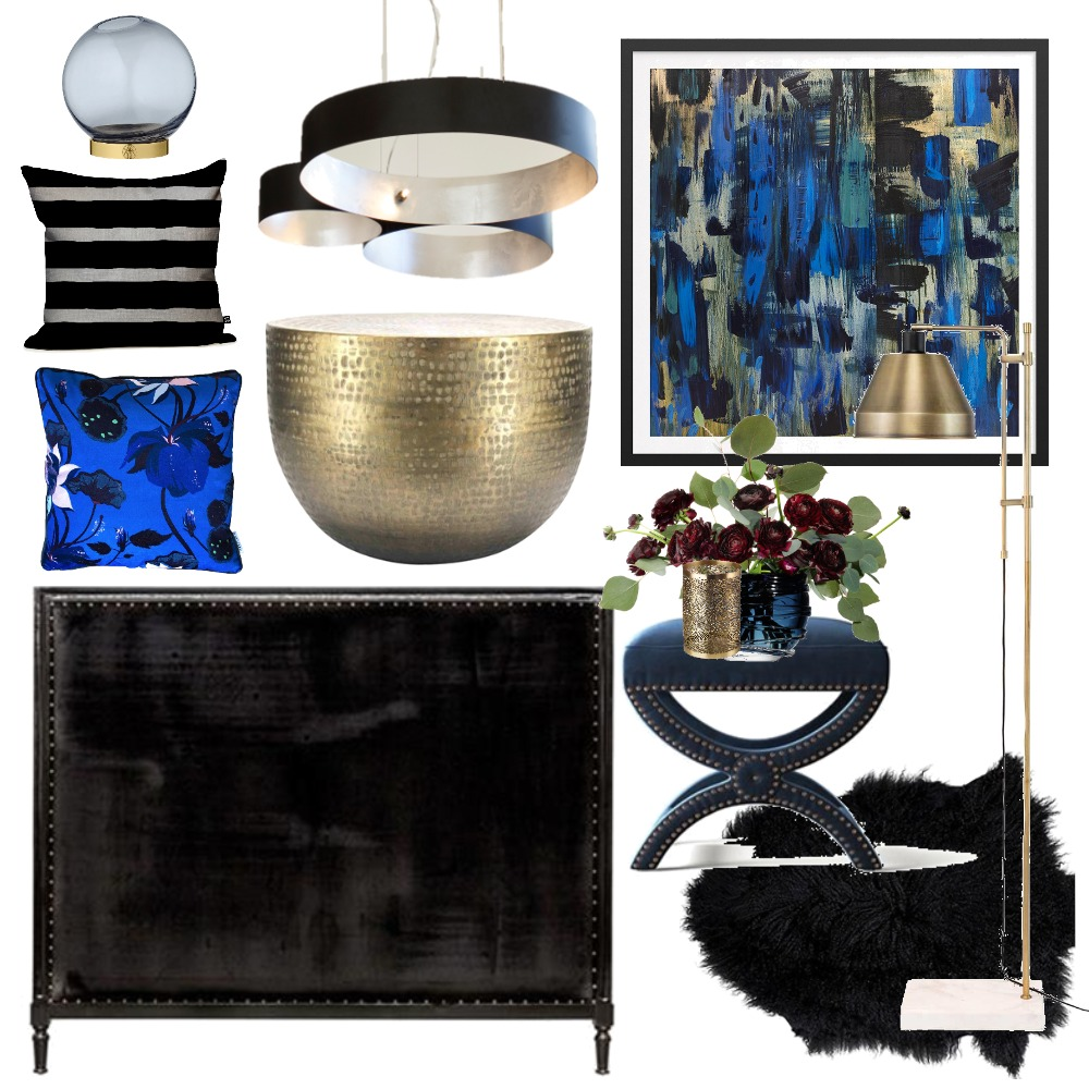 Black & Blue Luxe Interior Design Mood Board by Thediydecorator on Style Sourcebook