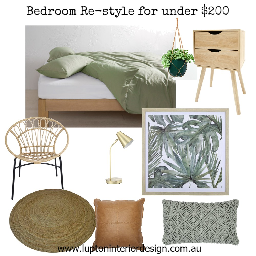 Tropical Bedroom Re-Style for Under $200 Mood Board by Lupton Interior Design on Style Sourcebook