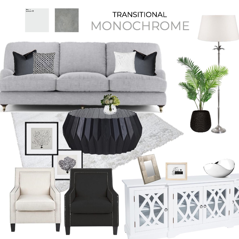 Transitional Monochrome Family Room Mood Board by stefzec on Style Sourcebook