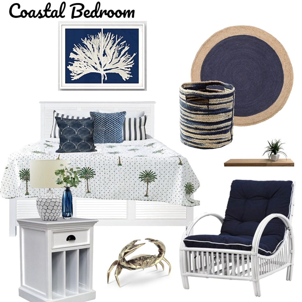 Coastal Blue Bedroom Interior Design Mood Board by Lupton Interior Design on Style Sourcebook
