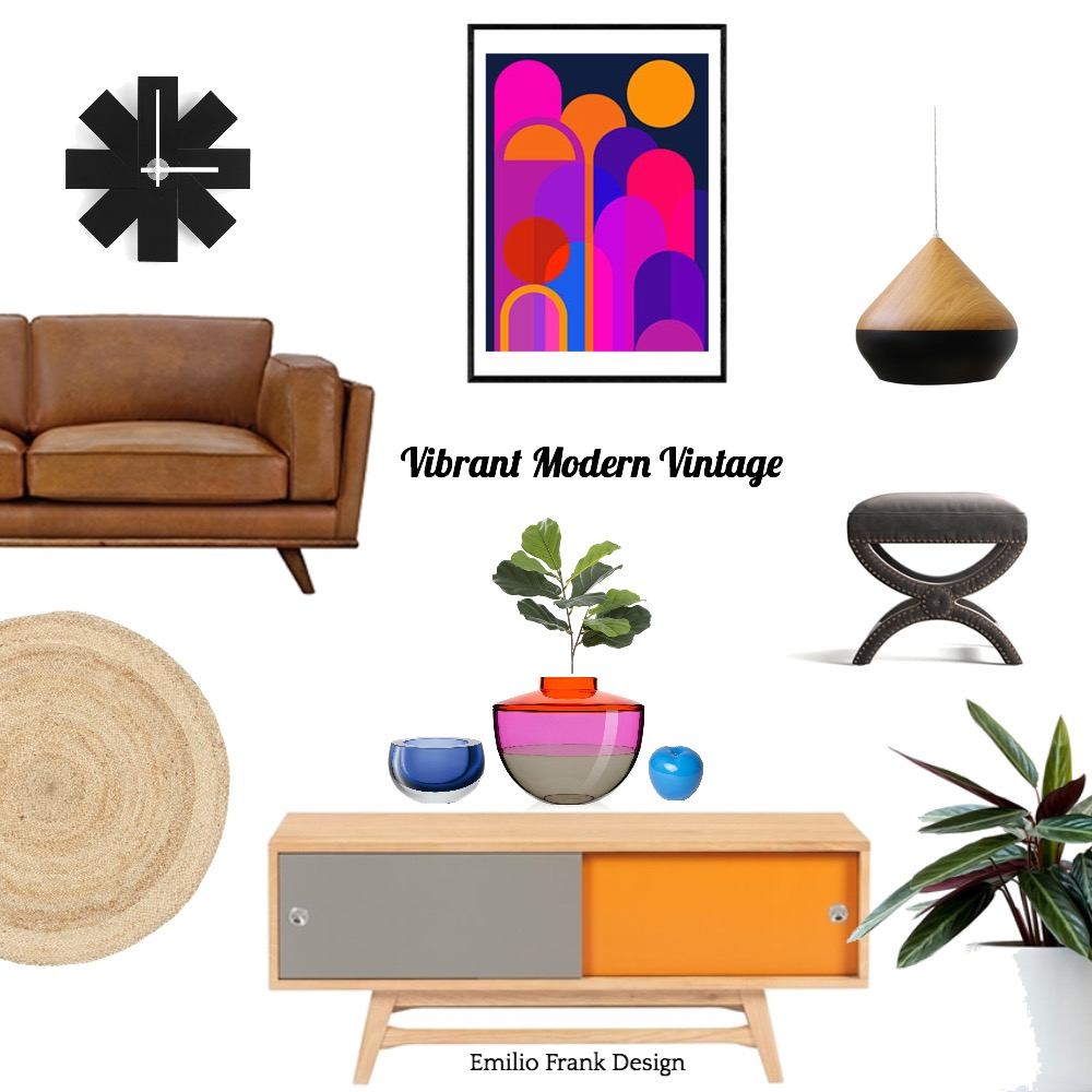 Vibrant modern vintage Interior Design Mood Board by Emilio Frank Design on Style Sourcebook