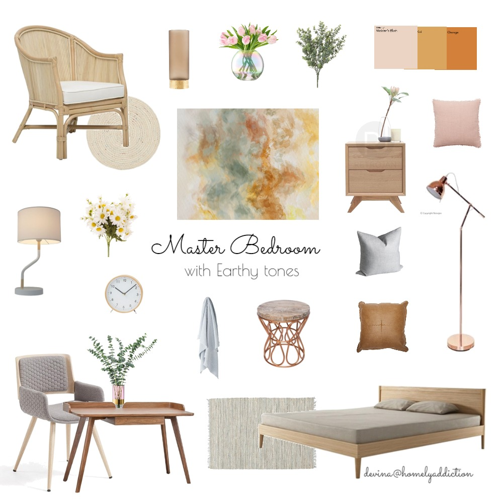 Master bedroom earthy tones Interior Design Mood Board by HomelyAddiction on Style Sourcebook