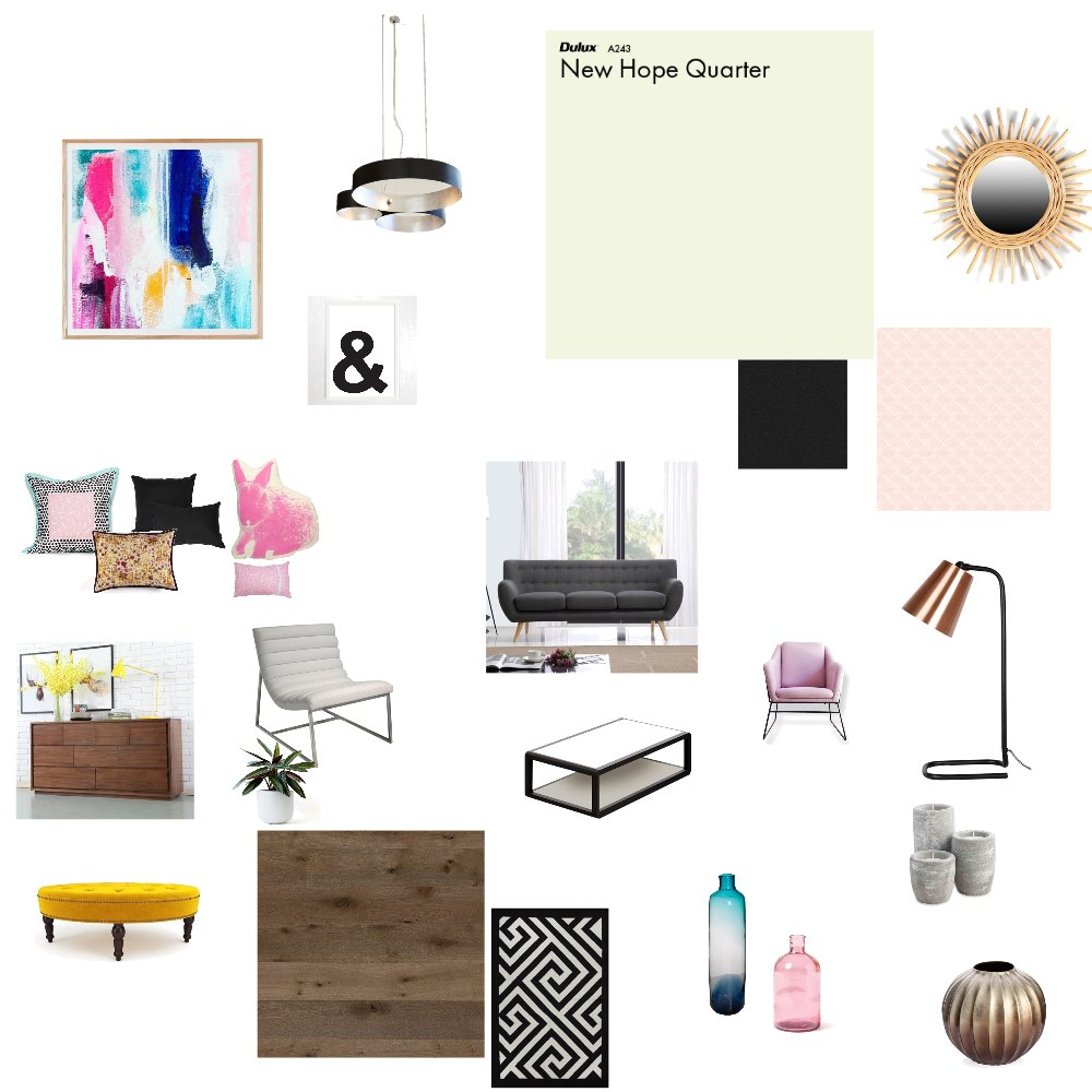 living room pink-black-white-grey Interior Design Mood Board by kareng on Style Sourcebook