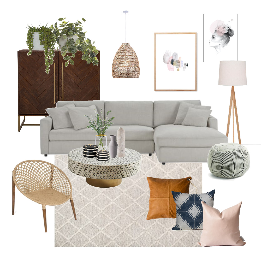 Boho Luxe Living Room Interior Design Mood Board by JessicaFloodDesign on Style Sourcebook