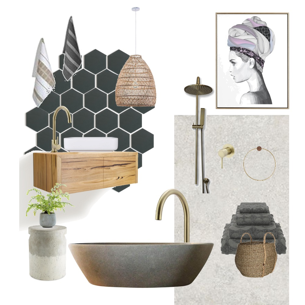 Charcoal Timber Bathroom Interior Design Mood Board by Just In Place on Style Sourcebook