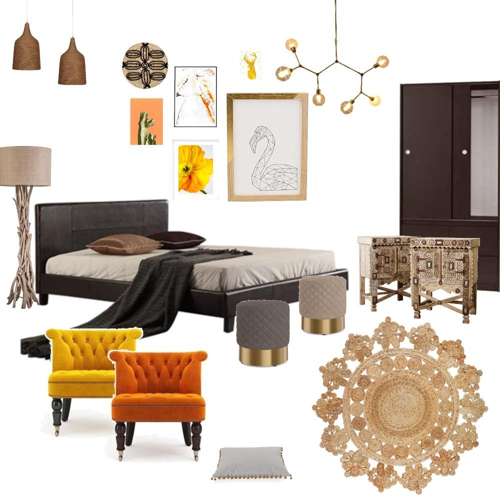 Bohemian warm colours Bedroom Interior Design Mood Board by azhara on Style Sourcebook