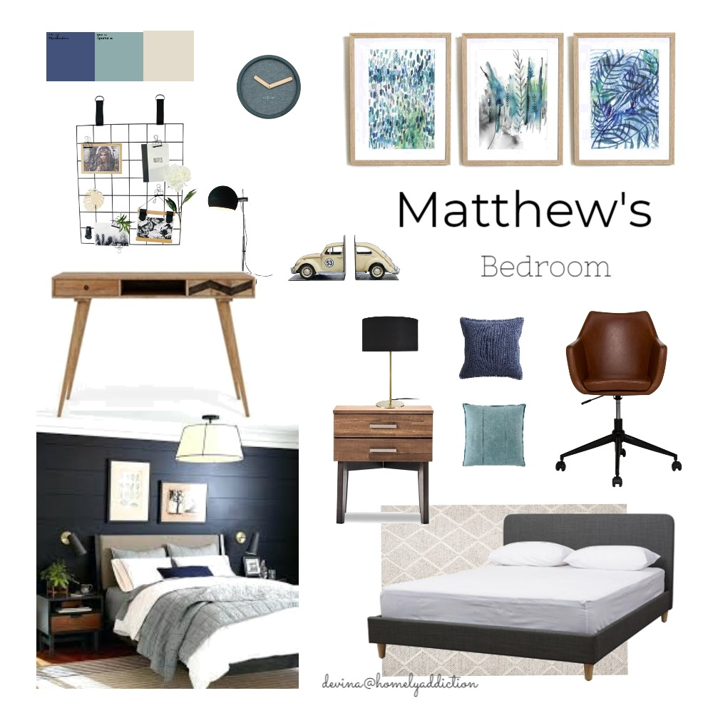 Matthew's bedroom Interior Design Mood Board by HomelyAddiction on Style Sourcebook