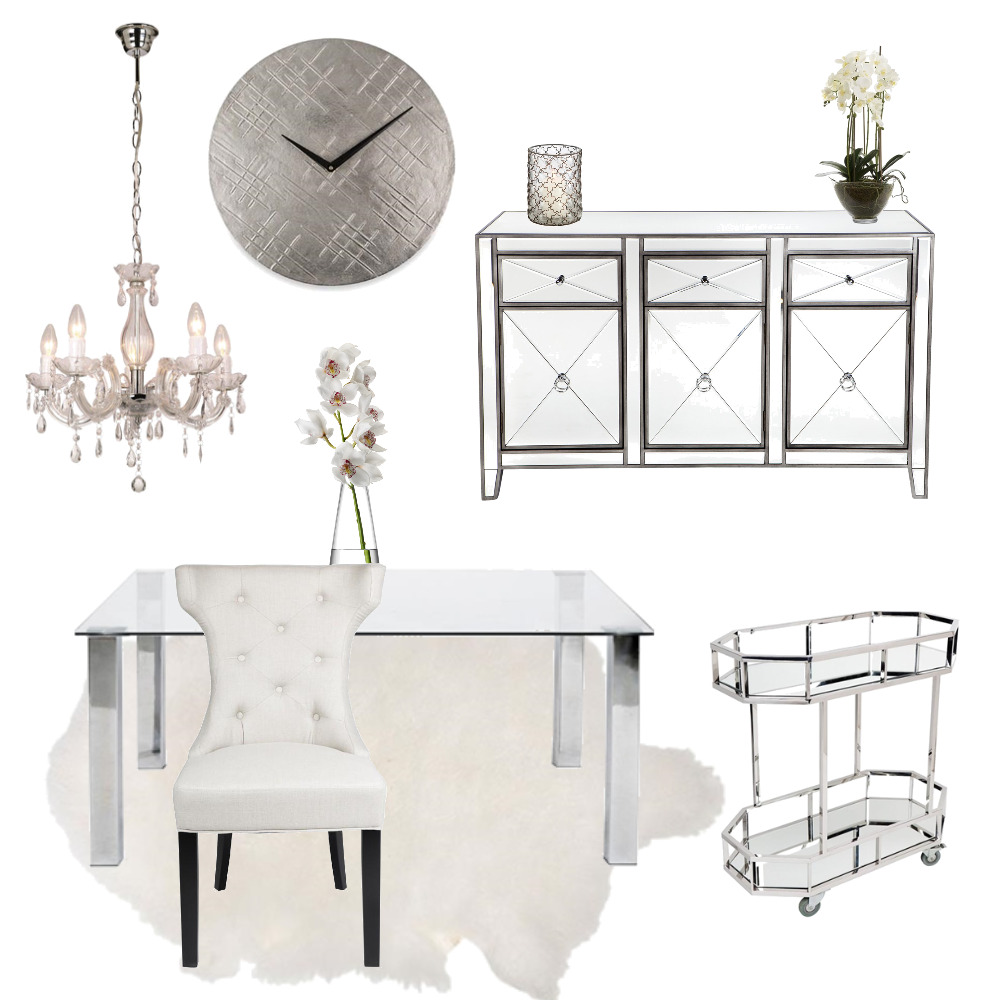 Hollywood Glam Dining Interior Design Mood Board by braydee on Style Sourcebook