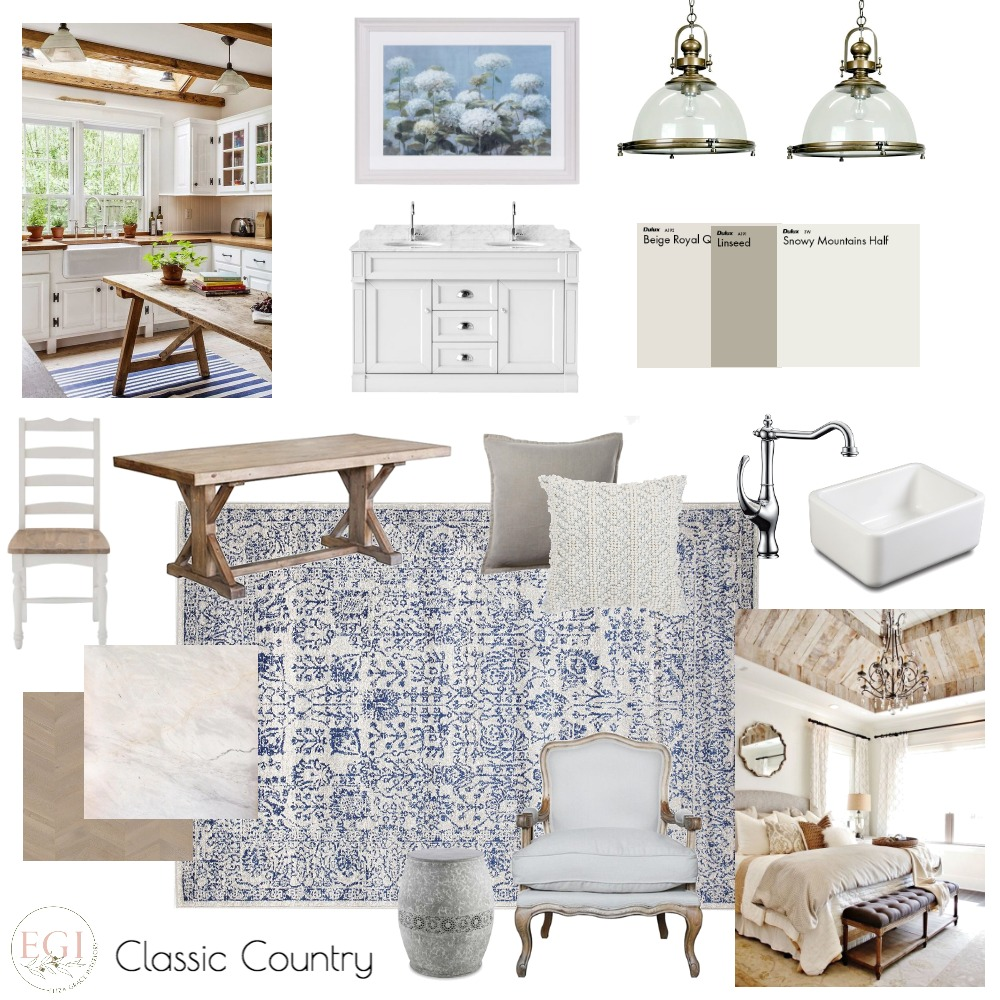 Classic Country Interior Design Mood Board by Eliza Grace Interiors on Style Sourcebook