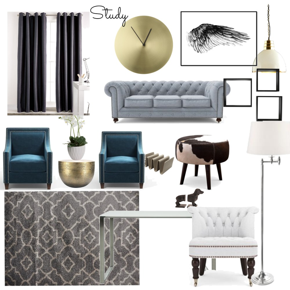 Study - office Interior Design Mood Board by bolajiT on Style Sourcebook