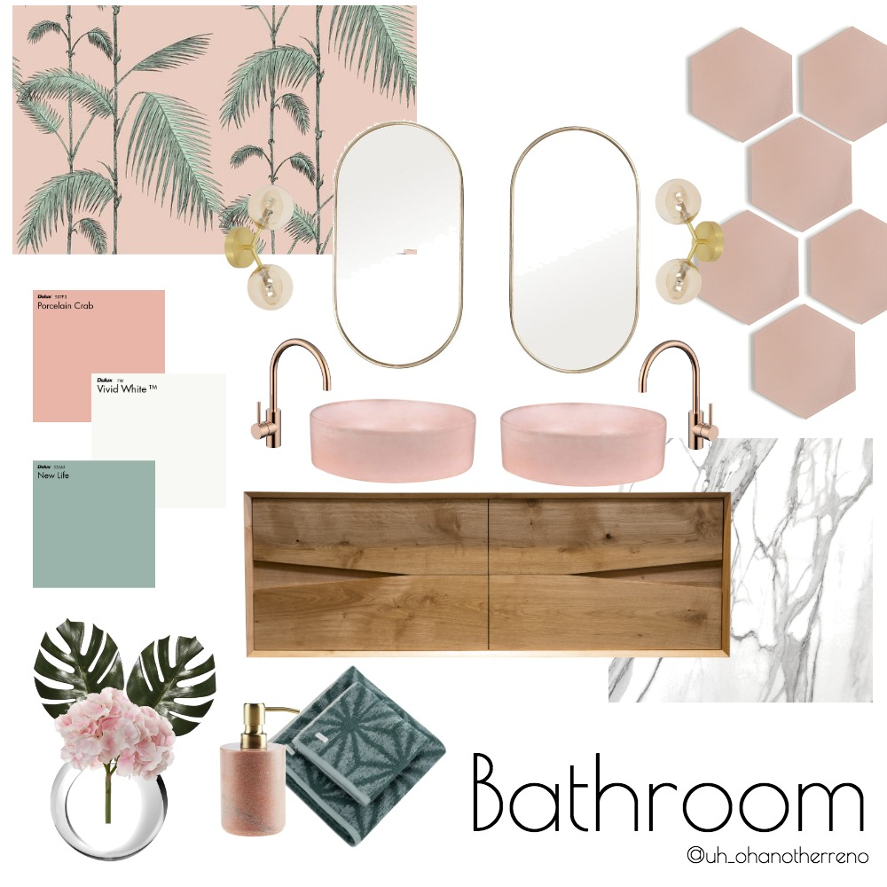 Pink and Timber Bathroom Interior Design Mood Board by AnnabelFoster on Style Sourcebook