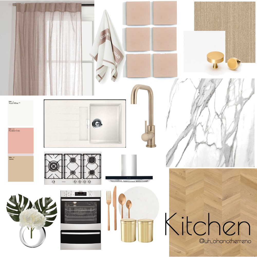 Pink and Timber Kitchen Interior Design Mood Board by AnnabelFoster on Style Sourcebook