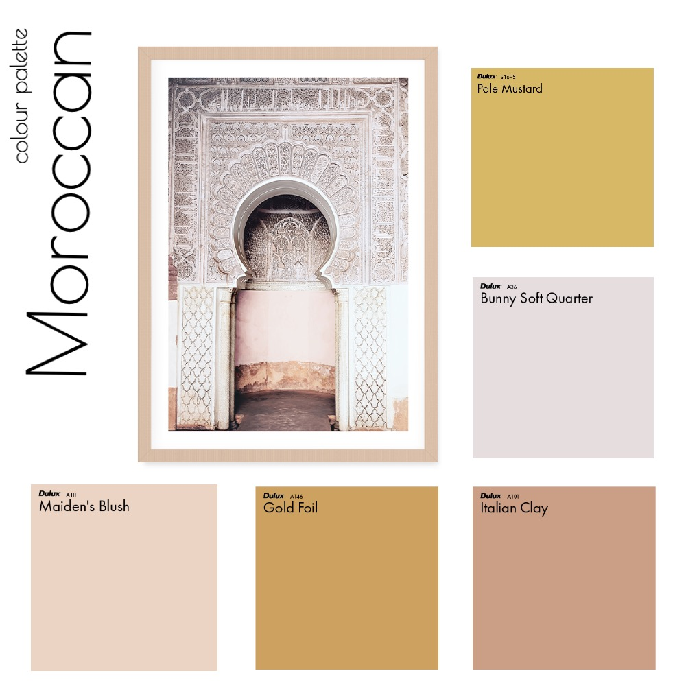 Colour Palette - Moroccan Interior Design Mood Board by Clarice & Co - Interiors on Style Sourcebook