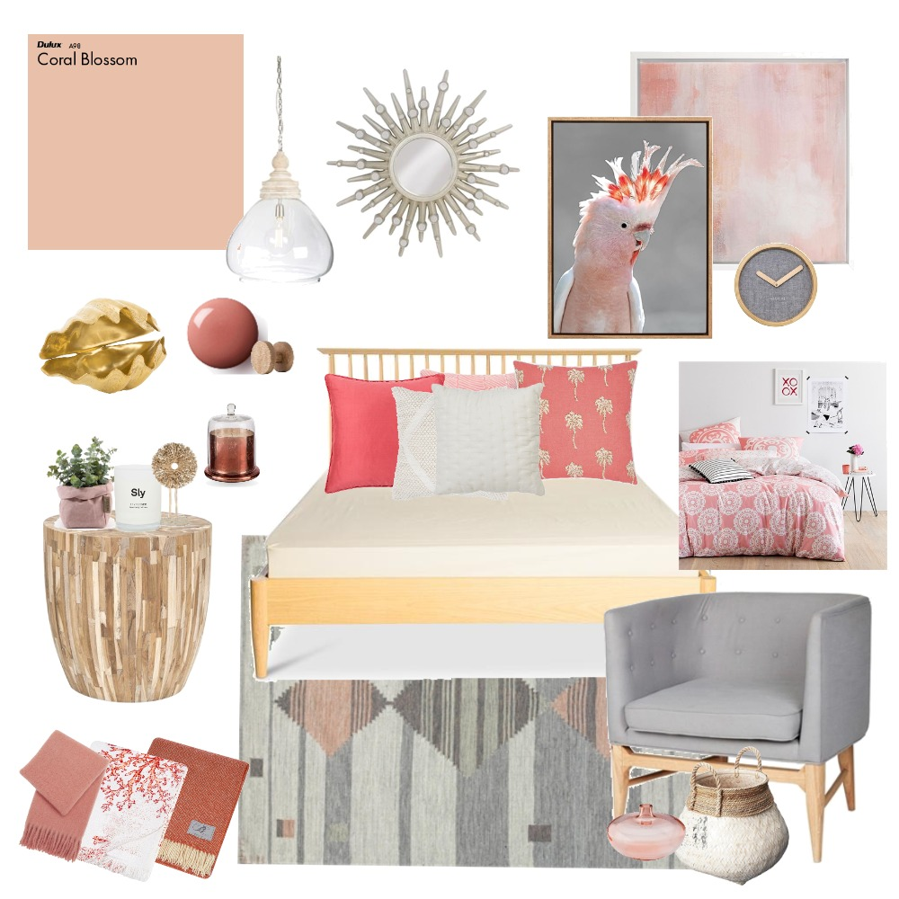 Living Coral Interior Design Mood Board by Lupton Interior Design on Style Sourcebook