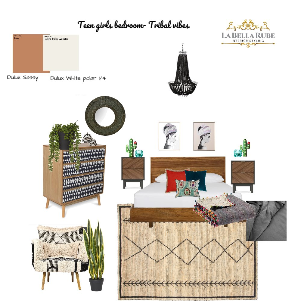 Teen Girls Bedroom - Tribal vibes Interior Design Mood Board by La Bella Rube Interior Styling on Style Sourcebook