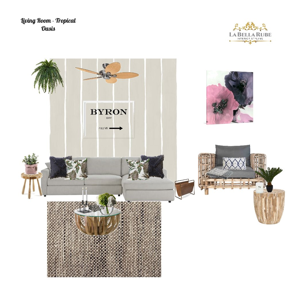 Living room tropical oasis Interior Design Mood Board by La Bella Rube Interior Styling on Style Sourcebook