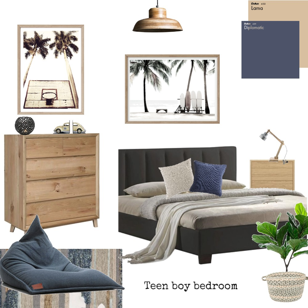 Teen boy bedroom Interior Design Mood Board by Boho Art & Styling on Style Sourcebook