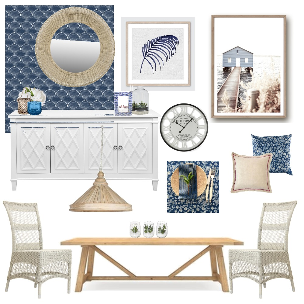 Hamptons Dining - Boho Twist Interior Design Mood Board by Lupton Interior Design on Style Sourcebook