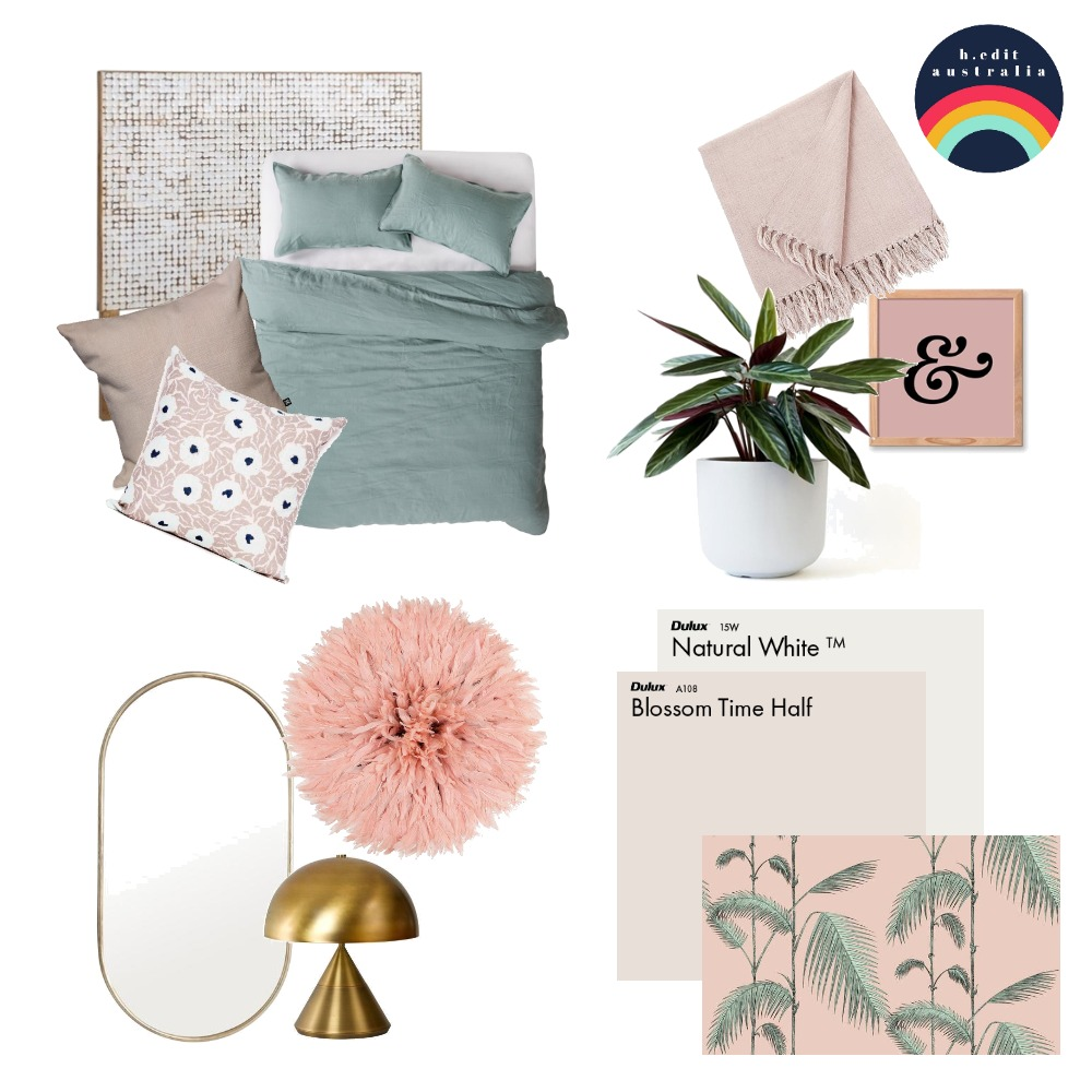 Blush + Sage Calming Bedroom Interior Design Mood Board by h.edit australia on Style Sourcebook