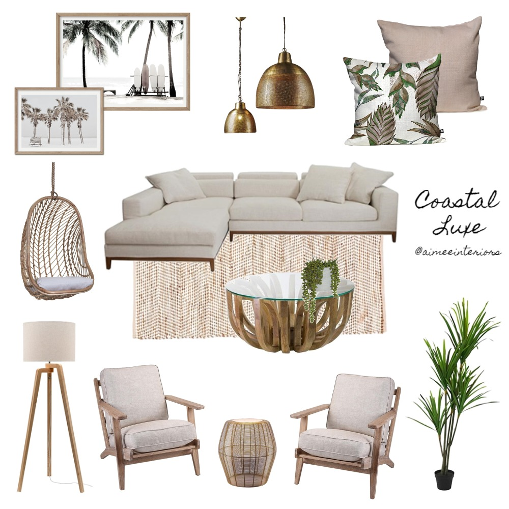 Coastal Luxe Interior Design Mood Board by Aimee & Co. Interior Styling on Style Sourcebook