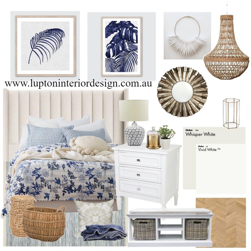Hamptons Bedroom Interior Design Mood Board by Lupton Interior Design on Style Sourcebook