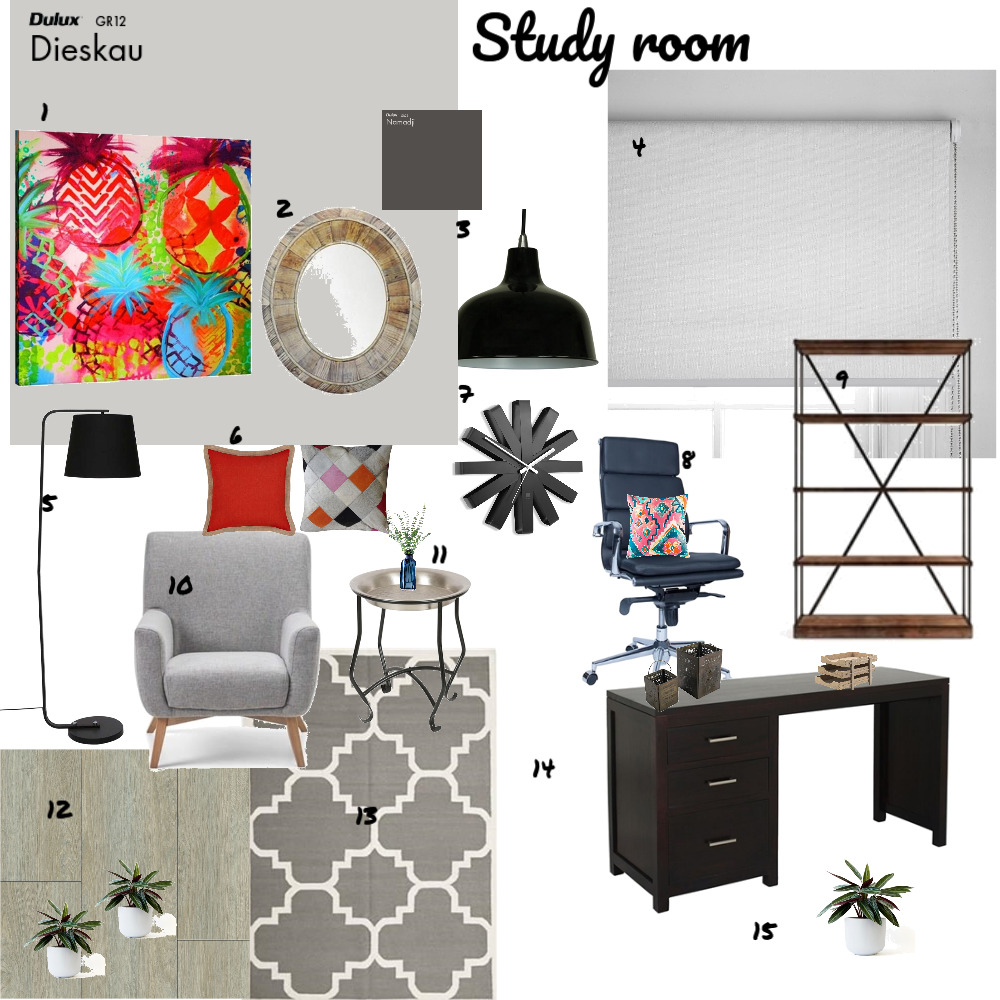 Study room Interior Design Mood Board by saba on Style Sourcebook