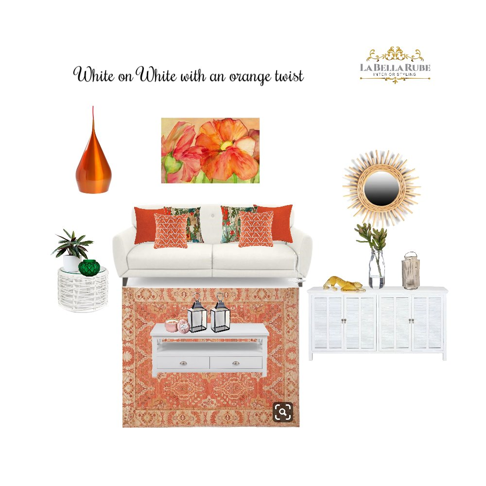 white on white with a twist of orange Interior Design Mood Board by La Bella Rube Interior Styling on Style Sourcebook