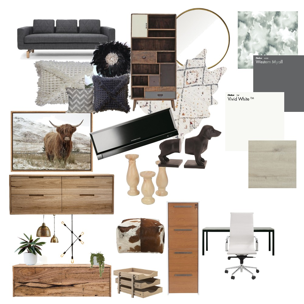 A modern living and study Interior Design Mood Board by ZAZA1011 on Style Sourcebook