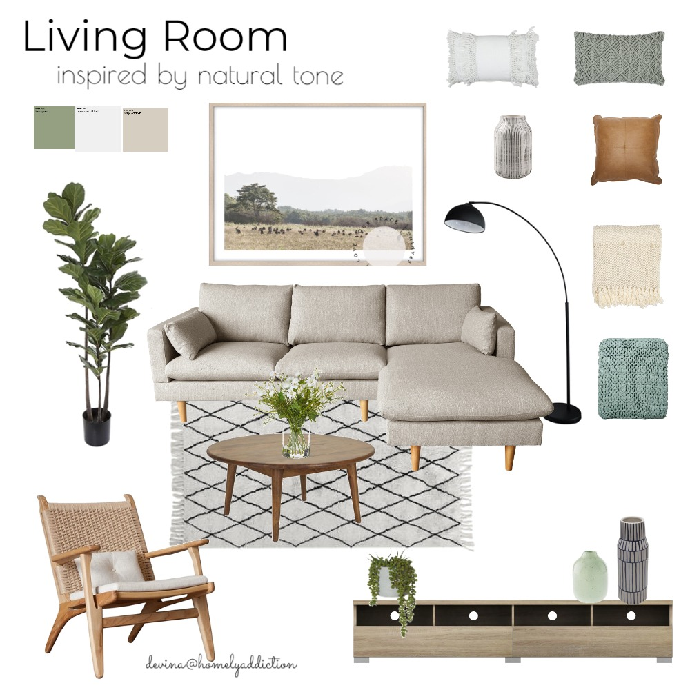 Nature inspired living Interior Design Mood Board by HomelyAddiction on Style Sourcebook