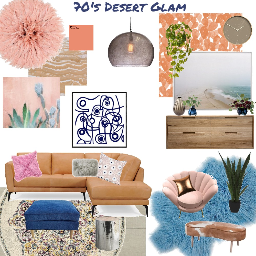 70's Desert Glam living space Interior Design Mood Board by JoannaLee on Style Sourcebook