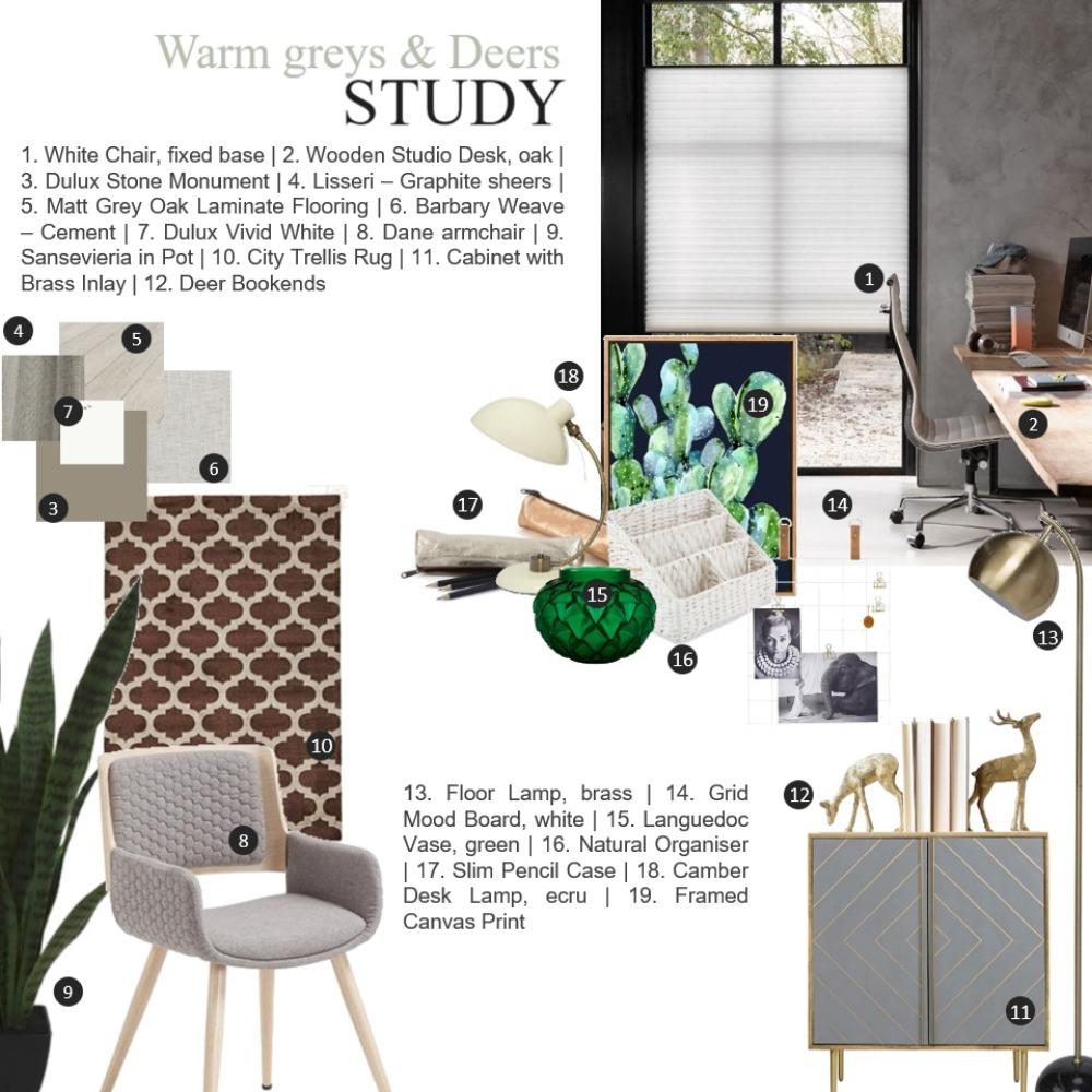 Warm Greys & Deers | Study Interior Design Mood Board by enili on Style Sourcebook
