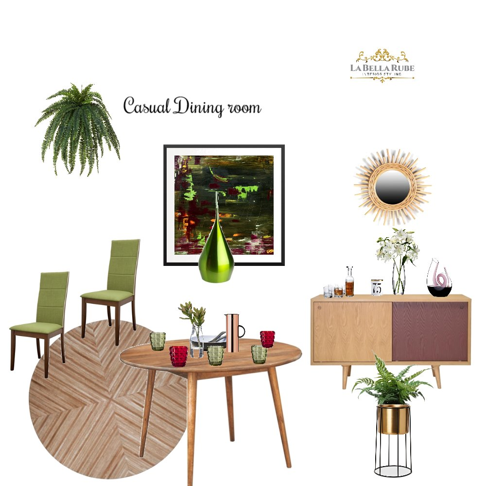casual dining room Interior Design Mood Board by La Bella Rube Interior Styling on Style Sourcebook