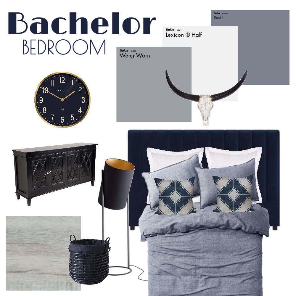 BACHELOR BEDROOM Interior Design Mood Board by ES Abode on Style Sourcebook