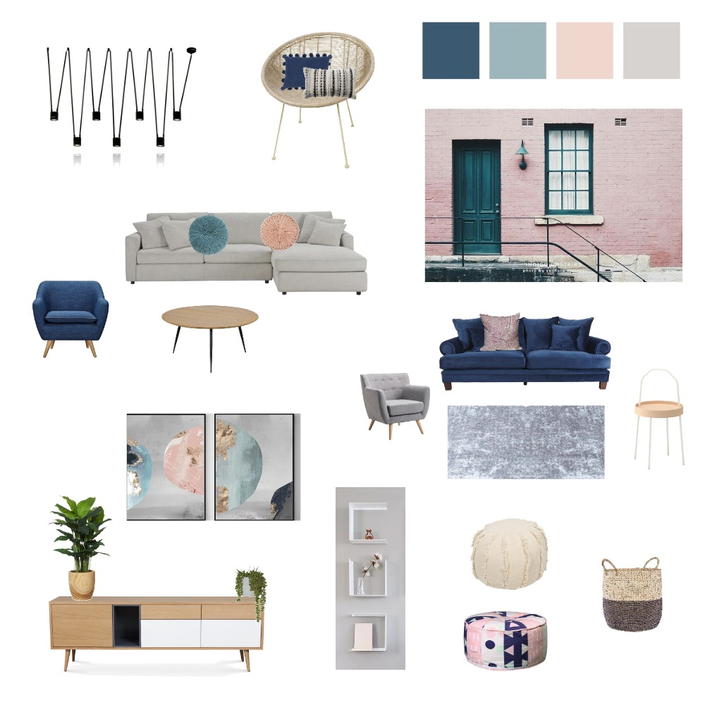 Living Room - blue-green-pink-gray scale Interior Design Mood Board by shellyls on Style Sourcebook