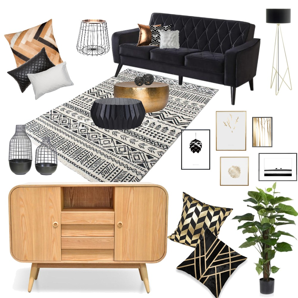 black and gold Interior Design Mood Board by iritziv1977 on Style Sourcebook