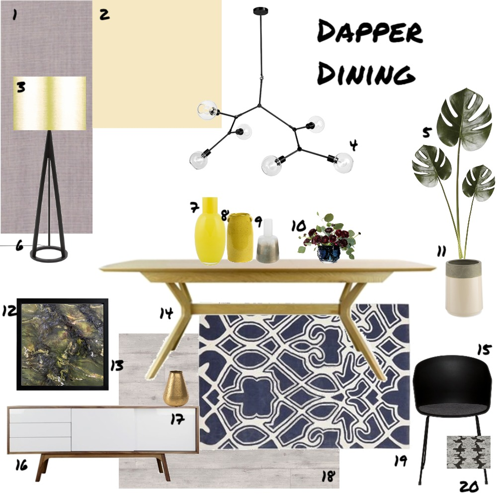 Assignment 9 - Dining Interior Design Mood Board by JoannaLee on Style Sourcebook