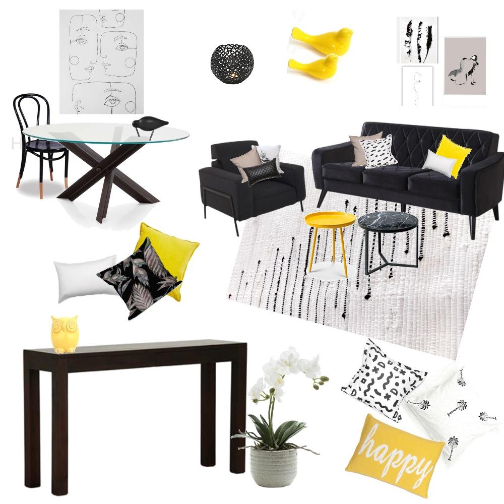 yellow white black Interior Design Mood Board by iritziv1977 on Style Sourcebook