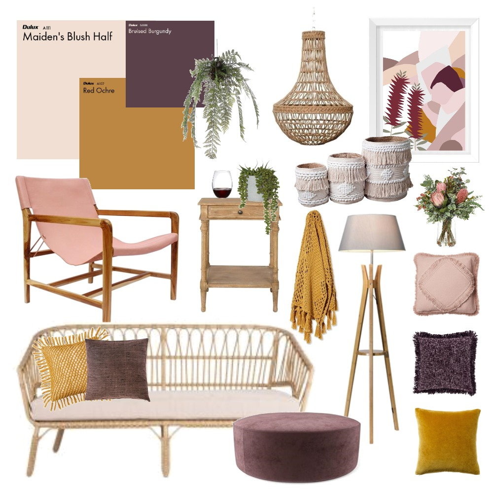 Mustard and Blush Interior Design Mood Board by Thediydecorator on Style Sourcebook