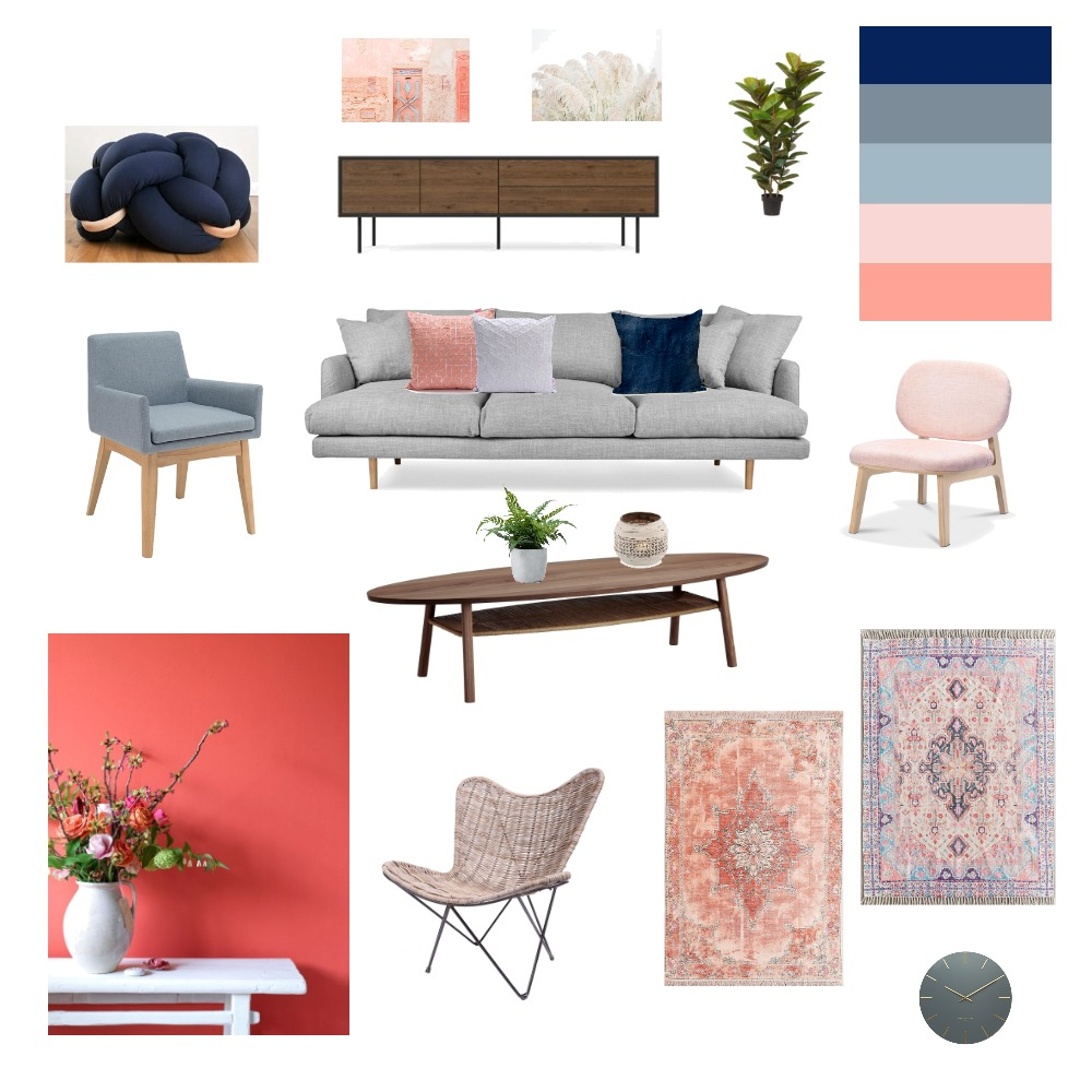 Living Room - navy-coral-gray-dusty blue Interior Design Mood Board by shellyls on Style Sourcebook