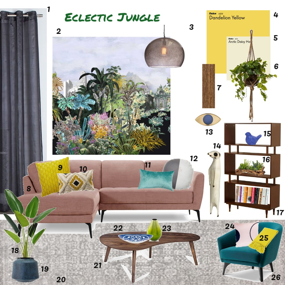 Eclectic Jungle Interior Design Mood Board by JoannaLee on Style Sourcebook