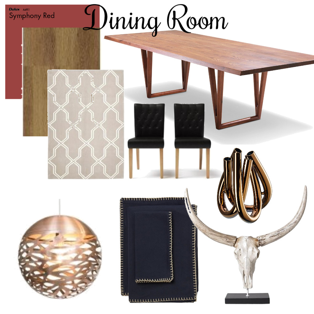 Dining Room Module 9 Interior Design Mood Board by Black Dahlia Interiors on Style Sourcebook
