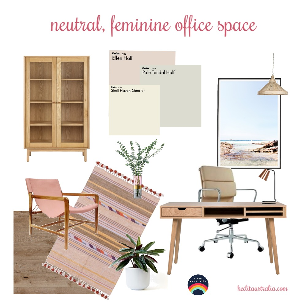 Neutral, feminine office space Interior Design Mood Board by h.edit australia on Style Sourcebook