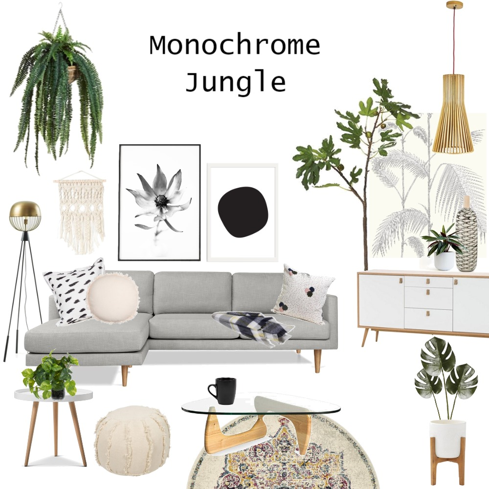 Monochrome Jungle Interior Design Mood Board by JoannaLee on Style Sourcebook