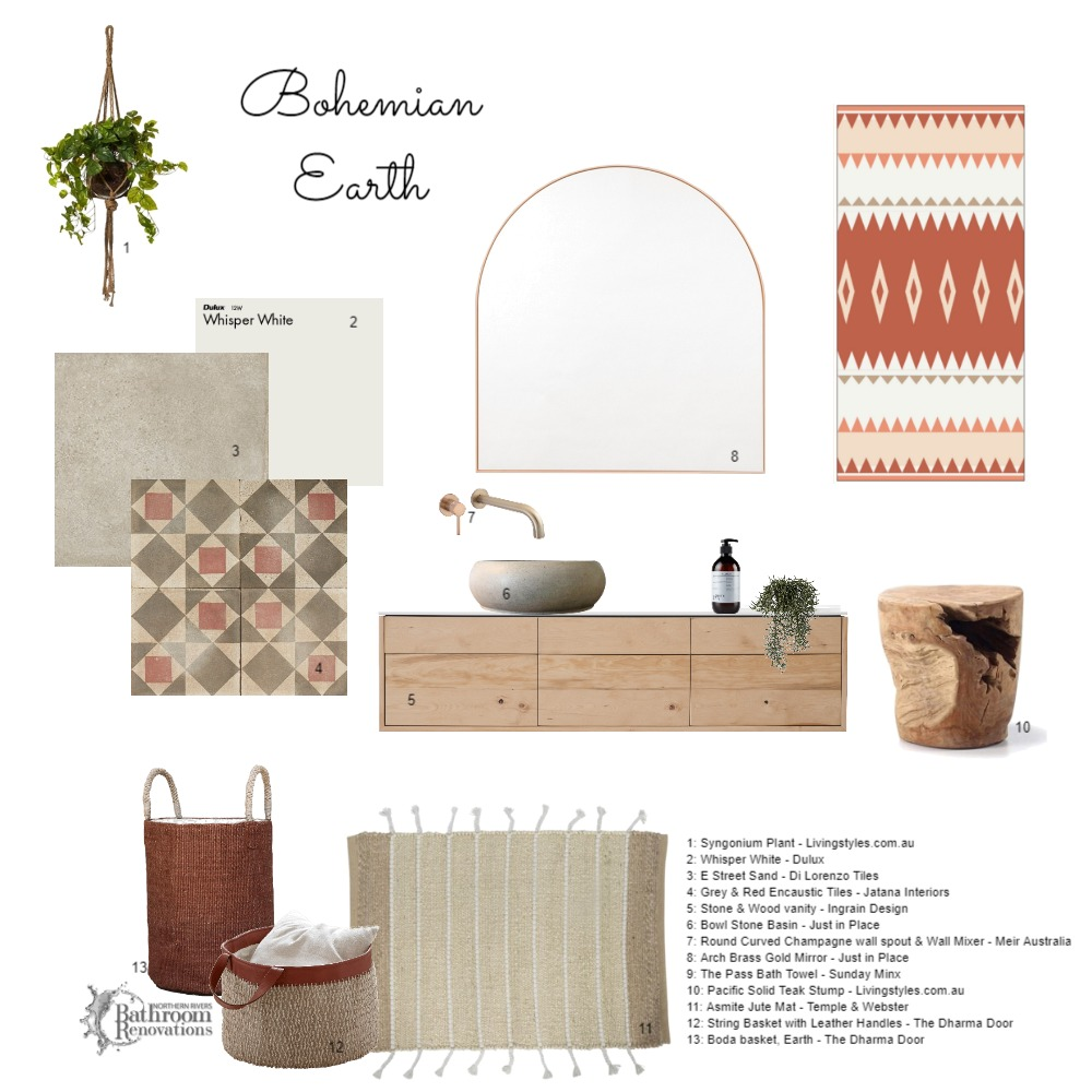Bohemian Earth - Bathroom Interior Design Mood Board by Northern Rivers Bathroom Renovations on Style Sourcebook