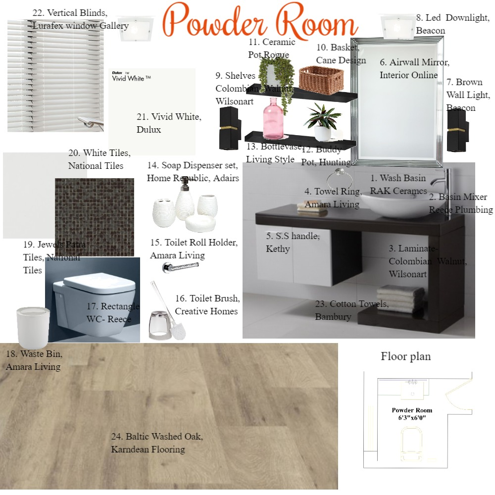 Powder Room Interior Design Mood Board by Bhakti Mehta on Style Sourcebook